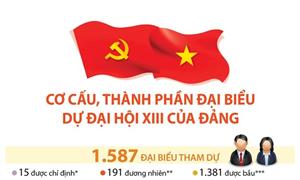 [Infographics] Cơ cấu, thành phần đại biểu dự Đại hội XIII của Đảng