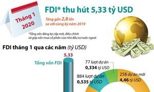 [Infographics] Thu hút FDI đạt 5,33 tỷ USD trong tháng 1