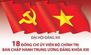 [Infographics] 18 đồng chí Ủy viên Bộ Chính trị Ban Chấp hành Trung ương Đảng khóa XIII