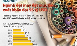 [Infographics] Dệt may đặt mục tiêu xuất khẩu đạt 55 tỷ USD vào năm 2025
