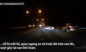 [Video] Chuyển làn ẩu trên cao tốc, xế hộp suýt tự gây đại họa