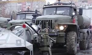 [Video] Nga sử dụng xe đặc chủng mang động cơ MiG-15 để phun thuốc khử trùng