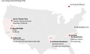 [Infographics] Những dự án khai thác lithium lớn của Mỹ