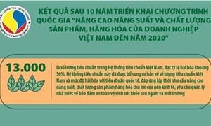 """[Infographics] Kết quả sau 10 năm triển khai Chương trình """"Nâng cao năng suất và chất lượng sản phẩm, hàng hóa của DN Việt Nam đến năm 2020"""""""
