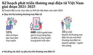 [Infographics] Phát triển thương mại điện tử Việt Nam giai đoạn 2021-2025