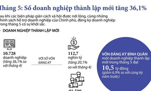 [Infographics] Tình hình đăng ký doanh nghiệp trong tháng 5 khởi sắc