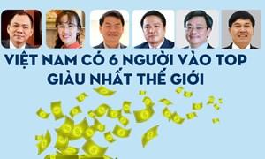 [Infographics] 6 tỉ phú USD người Việt vào top giàu nhất thế giới