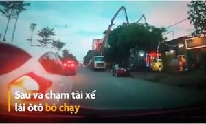 [Video] Ôtô lùi vào xe khác gây hư hỏng rồi bỏ chạy