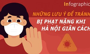 [Infographics] Những lưu ý để tránh bị phạt nặng khi Hà Nội giãn cách