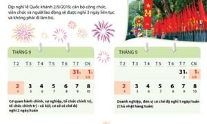 [Infographic] Lịch nghỉ lễ Quốc khánh 2/9/2019