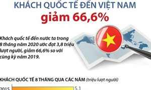 [Infographics] Trong 8 tháng năm 2020, khách quốc tế đến Việt Nam giảm 66,6%
