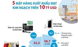 [Infographics] 5 mặt hàng xuất khẩu trên 10 tỷ USD trong 9 tháng năm 2020