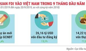 [Infographics] Những điểm nhấn về thu hút vốn FDI trong 9 tháng 2019