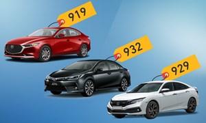 [Infographics] Mazda3, Civic và Altis - cuộc đấu sedan giá hơn 900 triệu