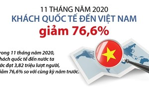 [Infographics] Khách quốc tế đến Việt Nam giảm 76,6% trong 11 tháng đầu năm