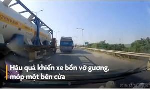[Video] Tài xế xe khách tạt đầu xe bồn chở hóa chất