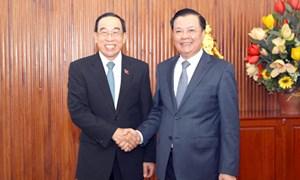 Bộ trưởng Đinh Tiến Dũng tiếp Bộ trưởng Bounchanh Sinthavong