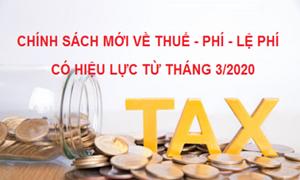 Chính sách mới về thuế, phí, lệ phí có hiệu lực từ tháng 3/2020