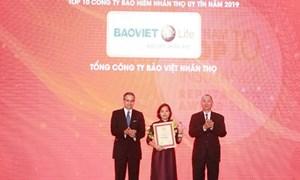 """Bảo Việt Nhân thọ dẫn đầu top 10 """"công ty bảo hiểm nhân thọ uy tín 2019"""""""