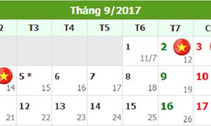 Lịch nghỉ Lễ 2/9/2017 của cán bộ, công chức, người lao động