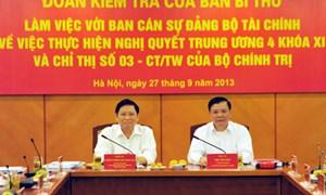 Đoàn Kiểm tra của Ban Bí thư làm việc với Ban Cán sự Đảng Bộ Tài chính