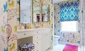 Trang trí giấy dán tường cho phòng tắm hiện đại