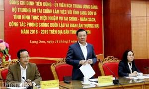 Bộ trưởng Đinh Tiến Dũng làm việc với tỉnh Lạng Sơn về thực hiện nhiệm vụ tài chính - ngân sách