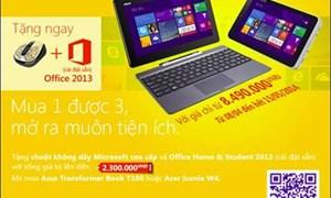 Mua máy tính bảng Windows 8.1 nhận ngay bộ đôi quà tặng giá trị