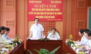 Ban Chỉ đạo sơ kết thực hiện Nghị quyết Trung ương 6 khóa X làm việc với tỉnh ủy Quảng Nam