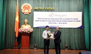 """Bộ Tài chính trao giải cuộc thi """"Giải báo chí toàn quốc viết về ngành Tài chính"""" năm 2018"""