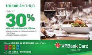 Chủ thẻ VPBank MasterCard được giảm đến 30% tại các nhà hàng lớn