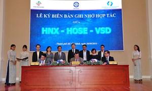 Ký kết biên bản thỏa hợp tác giữa HNX - HOSE - VSD