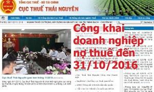 Thái Nguyên: Công khai 83 doanh nghiệp nợ thuế hơn 300 tỷ đồng