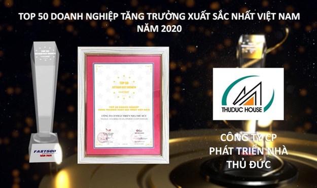 Thuduc House đạt danh hiệu 'Top 50 doanh nghiệp tăng trưởng xuất sắc nhất Việt Nam'