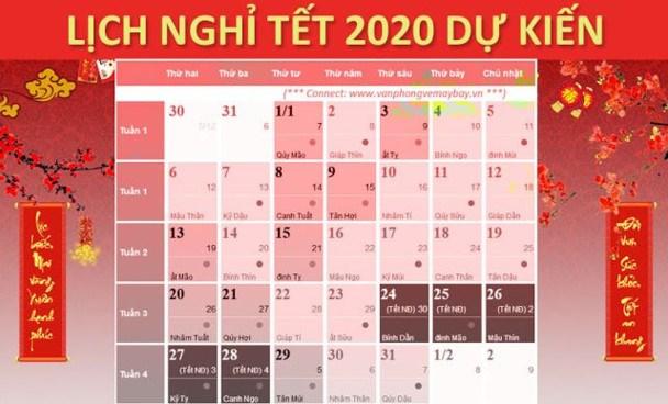 Hai phương án nghỉ Tết âm lịch 2020