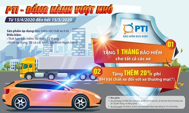 PTI tặng một tháng phí bảo hiểm cho khách hàng tham gia bảo hiểm vật chất xe ô tô