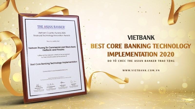 Vietbank - ngân hàng duy nhất nhận giải thưởng công nghệ ngân hàng lõi tốt nhất năm 2020