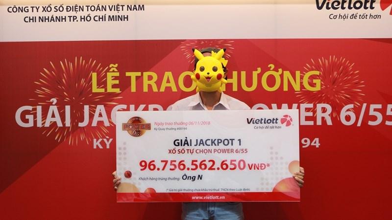 Vietlott trao giải Jackpot 1 trị giá 96,7 tỷ đồng cho khách hàng  tại TP. Hồ Chí Minh
