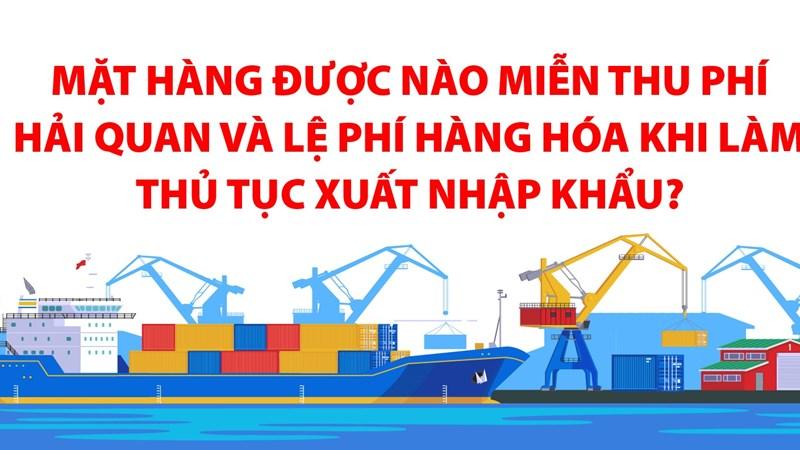 [Infographics] Mặt hàng được nào miễn thu phí hải quan và lệ phí hàng hóa khi làm thủ tục xuất nhập khẩu?