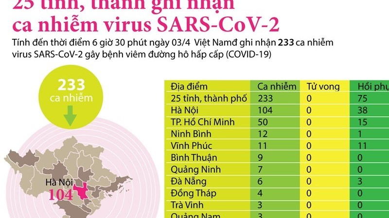 [Infographics] 25 tỉnh, thành ghi nhận ca nhiễm mắc bệnh COVID-19