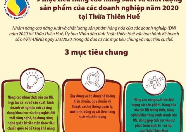 [Infographics] 9 mục tiêu nâng cao năng suất và chất lượng sản phẩm của các doanh nghiệp năm 2020 tại Thừa Thiên Huế