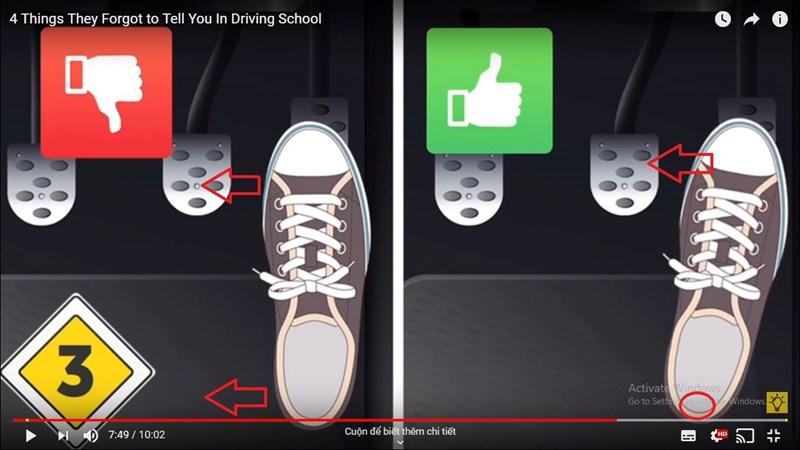 [Video] Điều cần nhớ để tránh nhầm chân ga và chân phanh