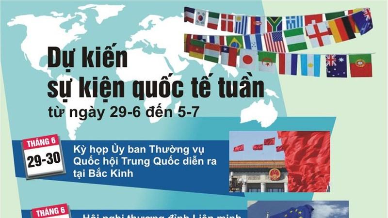 [Infographics] Dự kiến sự kiện quốc tế tuần tới (từ ngày 29/6 đến 5/7)
