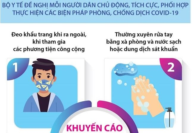 [Infographics] Bộ Y tế khuyến cáo các cách thức phòng chống dịch Covid-19