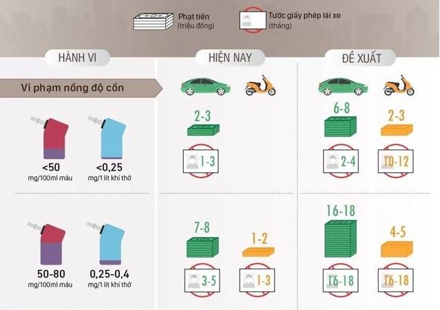 [Infographics] Tài xế vi phạm nồng độ cồn có thể bị tước giấy phép lái xe 2 năm