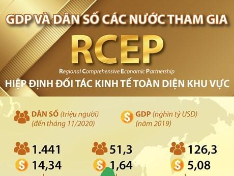 [Infographics] Thông tin cơ bản về GDP và dân số các nước tham gia RCEP