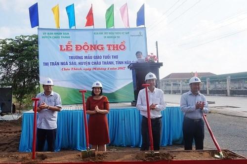 Vietcombank tài trợ xây trường học tại Hậu Giang