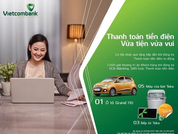 Cơ hội trúng thưởng ô tô khi thanh toán tiền điện qua VCB-iB@nking, SMS của Vietcombank
