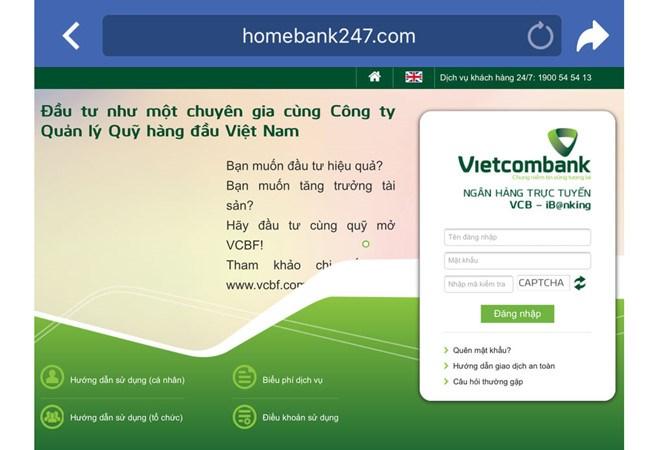 Các website giả mạo website của Vietcombank