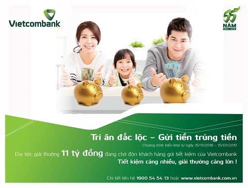 """Vietcombank triển khai """"Tri ân đắc lộc – Gửi tiền trúng tiền"""""""